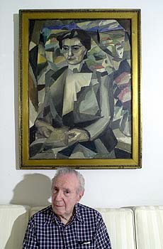 Jacques Barzun sitting in front of Gleizes portrait of Madame H. M. Barzun